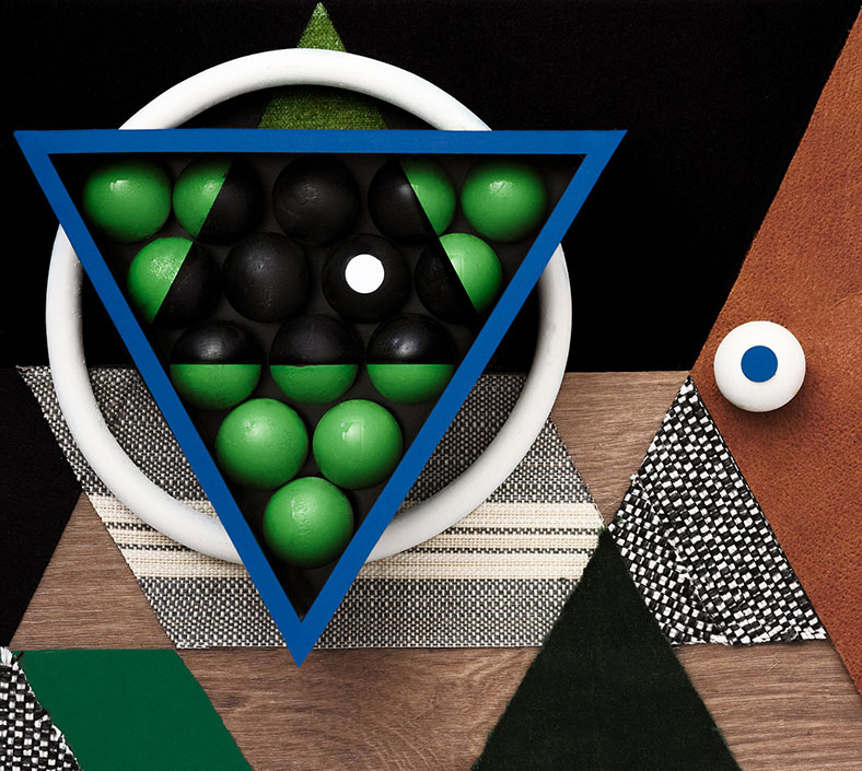 Artistic collage of billiards room materials