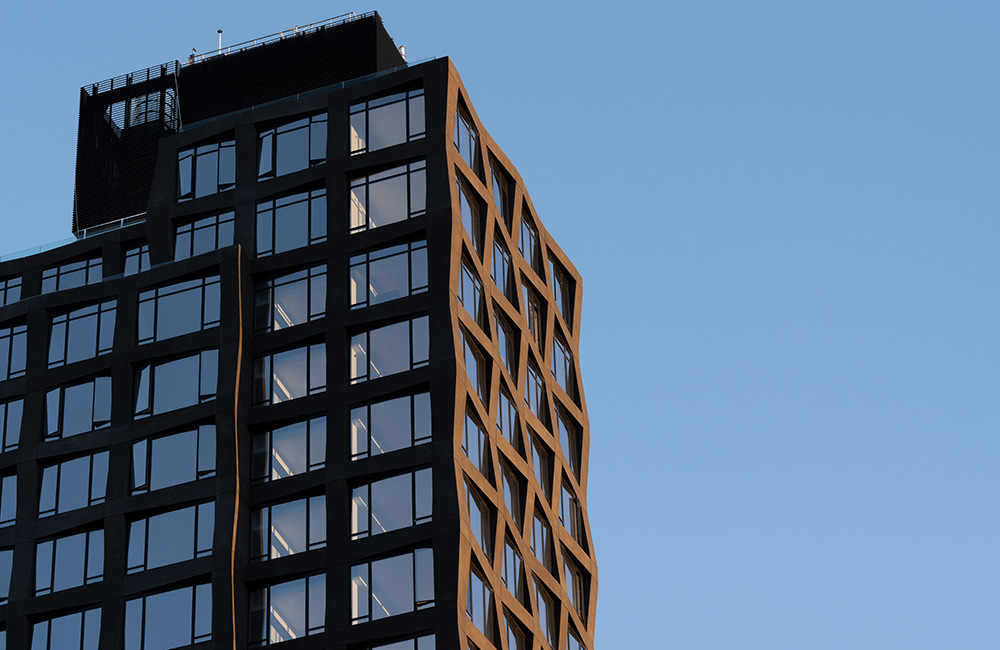 111 varick building facade and top