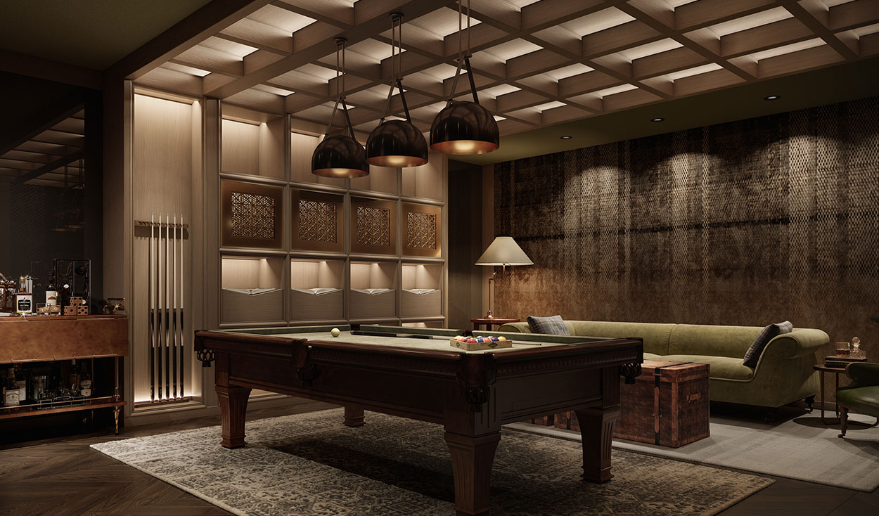Rendering of 111 varick Billiards room with lush wooden finishes, seating and a bar