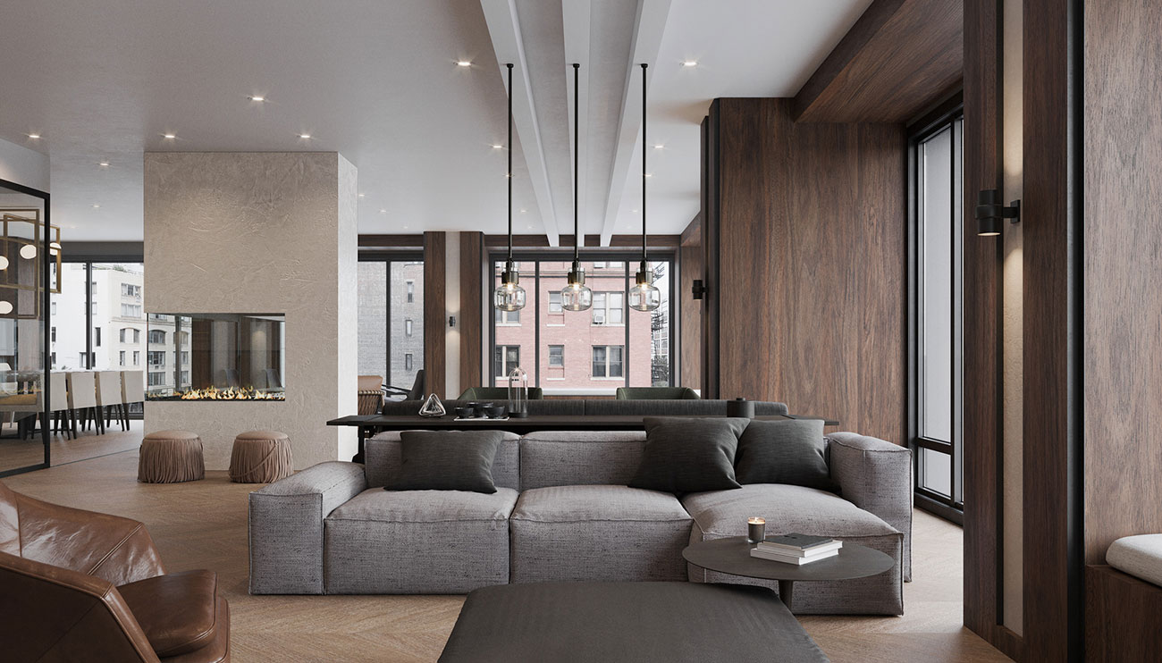 Rendering of 111 Varick Common Lounge, showing comfortable seating, fireplace, modern finishes and large floor to ceiling windows