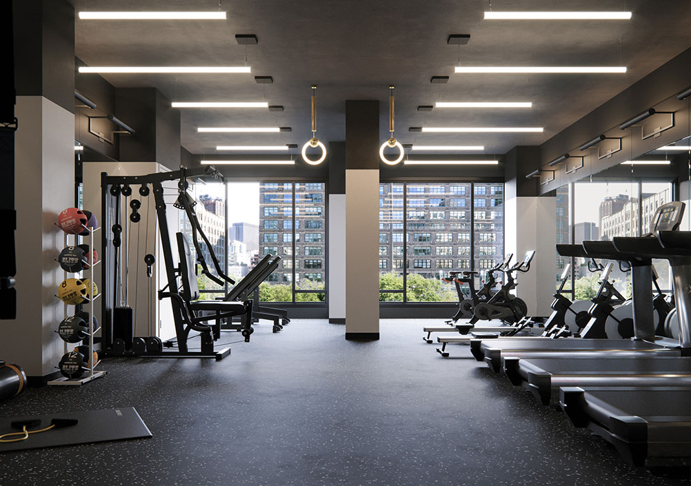 Rendering of 111 Varick Gym, including upscale fitness equipment and large windows