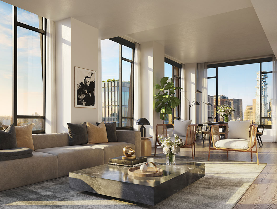 Rendering of 111 Varick living room, including large windows, ample sunlight and high end furnishings and finishes
