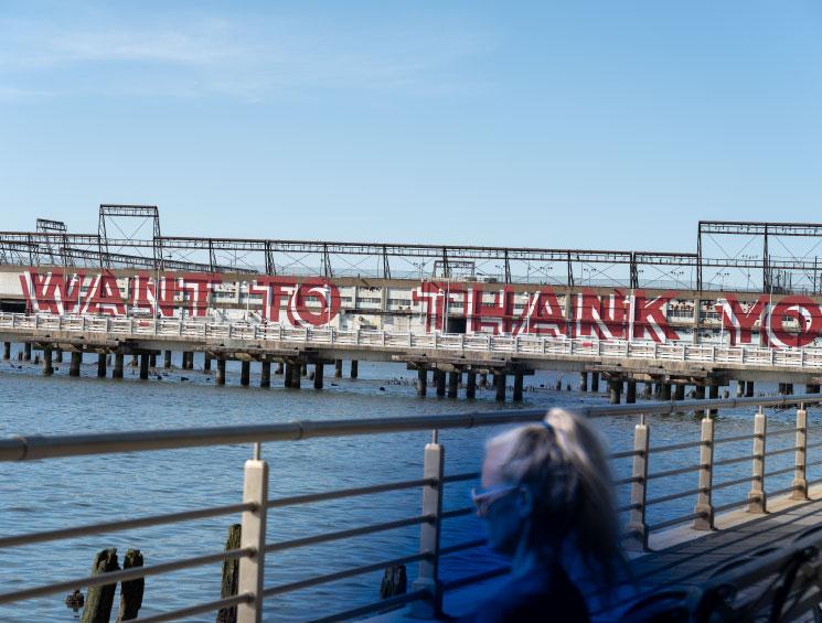 Graphic art on Hudson River Pier