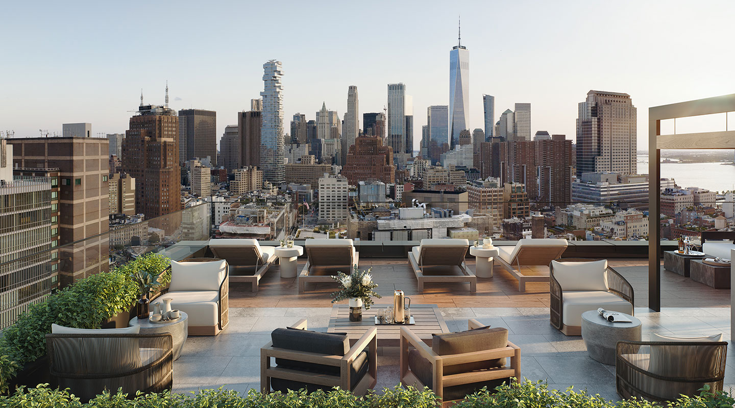 Rendering of the 111 Varick rooftop, including ample seating options and a vast souther NYC view