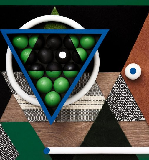 Artistic collage of billiards room materials