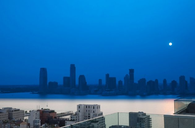 East view from 111 Varick window, with blue overlay